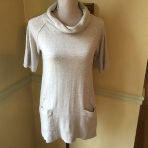Short sleeve cream cowl neck sweater .  Size 0X